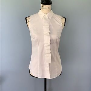 ANN TAYLOR white sleeveless ruffle blouse size 2